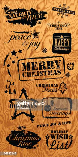 Set of Holiday elements and text designs