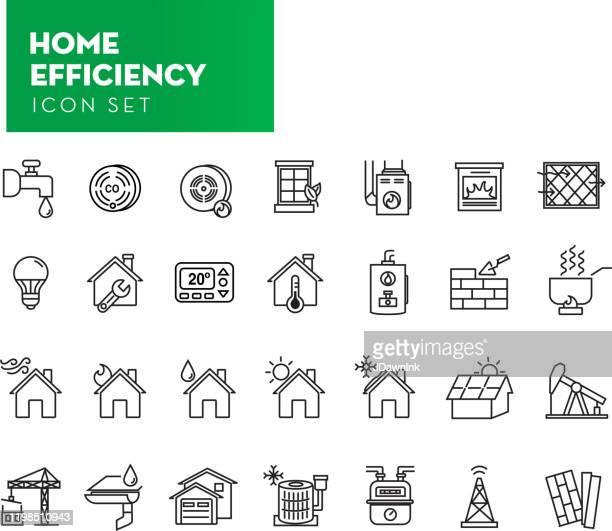細い線のスタイルのホーム効率アイコンのセット - 警報機点のイラスト素材/クリップアート素材/マンガ素材/アイコン素材