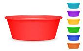 Set of home plastic basins for washing