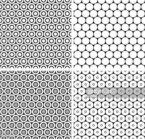 set of  honeycomb  black and white   seamless  patterns