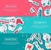 Set of Horizontal Banners about Dentistry