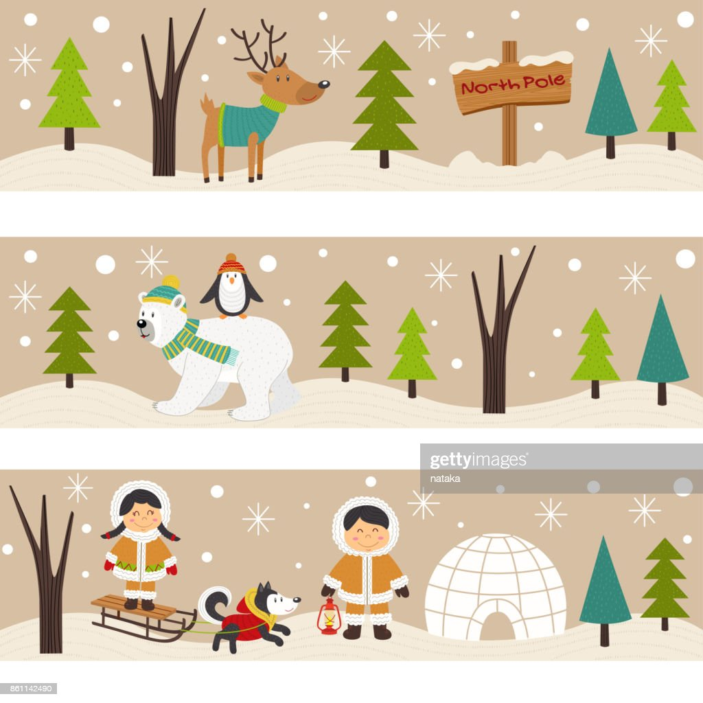 set of horizontal banners with Eskimos and polar animals