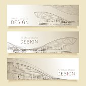 Set of horizontal banners with parts of detailed architectural.