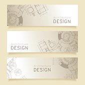 Set of horizontal banners with parts of detailed blueprint.