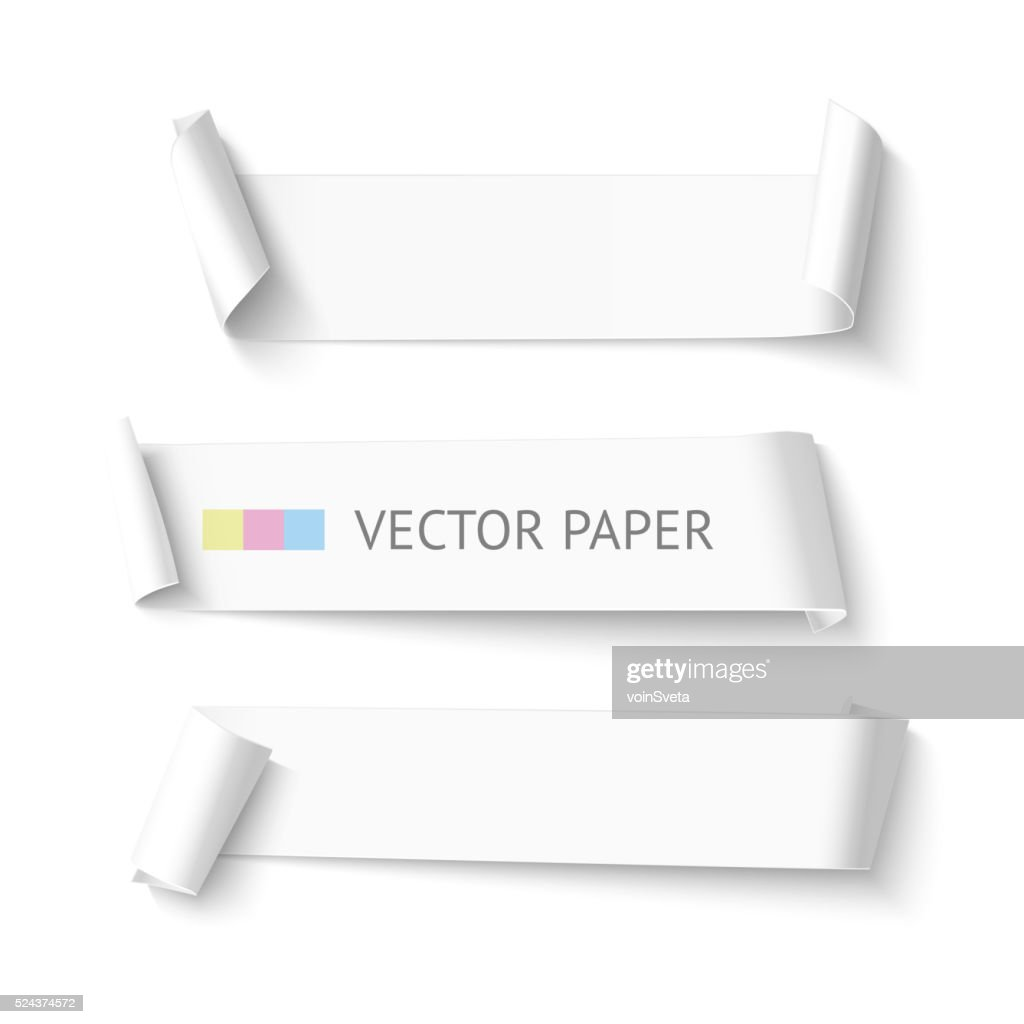 Set of horizontal blank white curved paper ribbon banner. Realistic