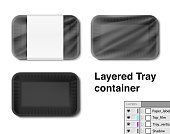 Set of horizontal tray container.