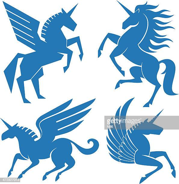 set of horses - pegasus stock illustrations, clip art, cartoons, & icons