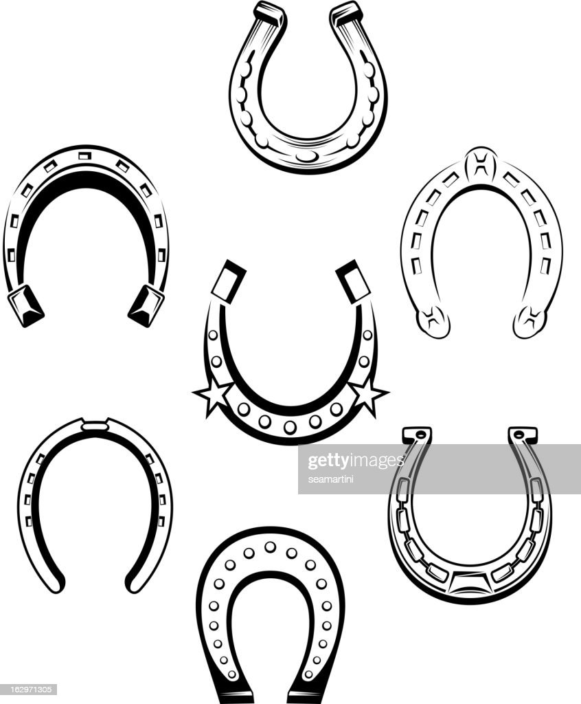 Set of horseshoe icons
