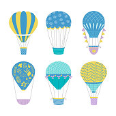Set of hot air balloons. Cute baby illustration. Vector travel concept.