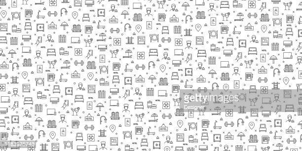 set of hotel facitilies icons vector pattern design - hotel stock illustrations
