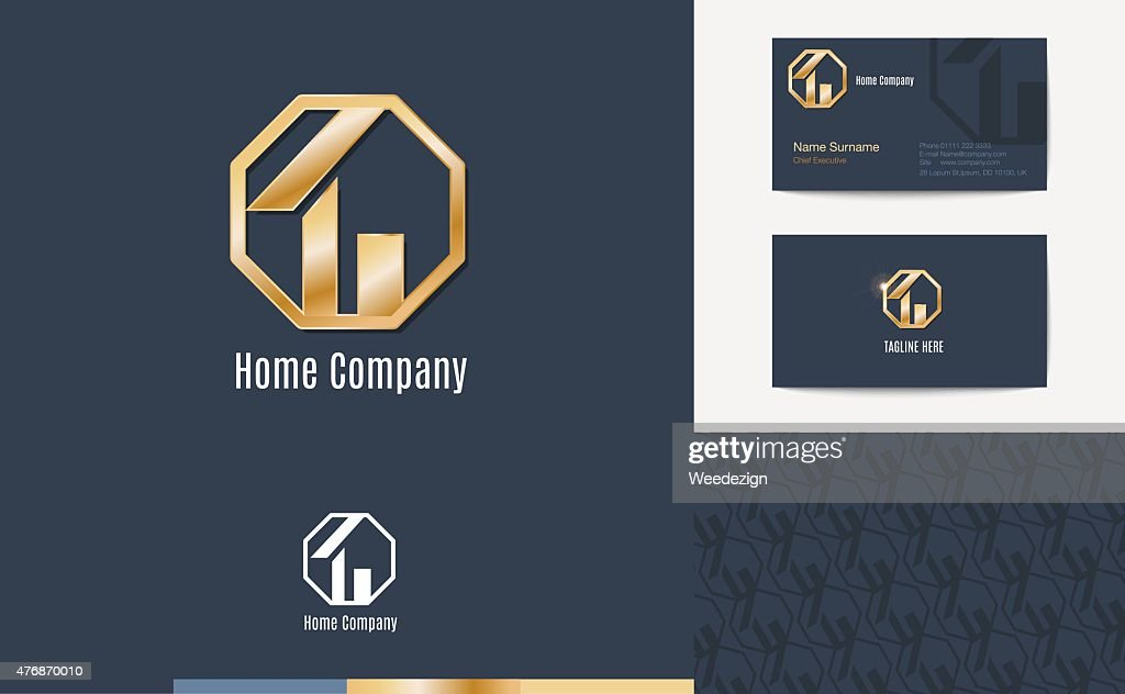 Set of House business logo, business card and pattern