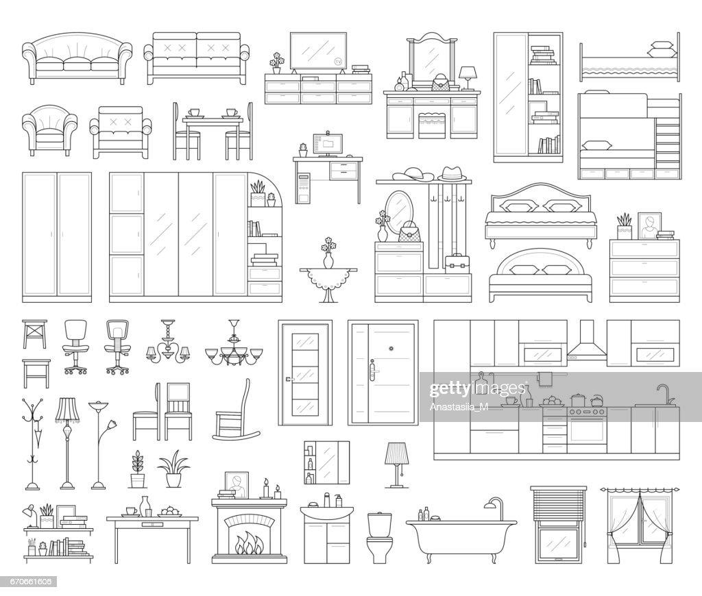 Set of house interior furniture.