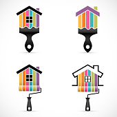 Set of house renovation icons. Painting services icons