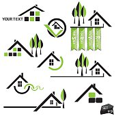 Set of houses icons with natural elements