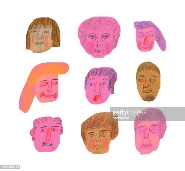 Set of human faces