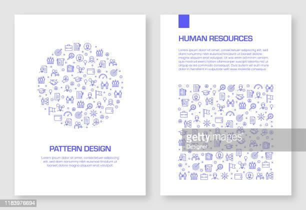 satz von human resources icons vektor muster design für broschüre, jahresbericht, buch-cover. - zwischenbericht stock-grafiken, -clipart, -cartoons und -symbole