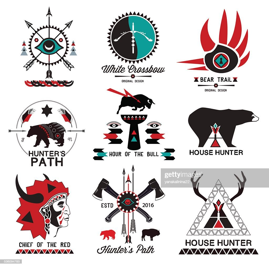 Set of hunting, ethnics logo and design elements