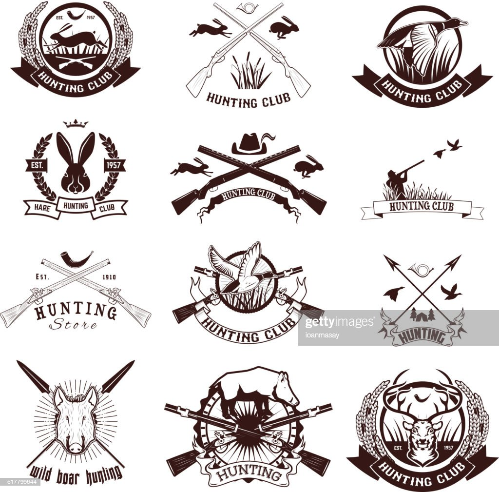 Set of hunting labels, emblems and design elements.