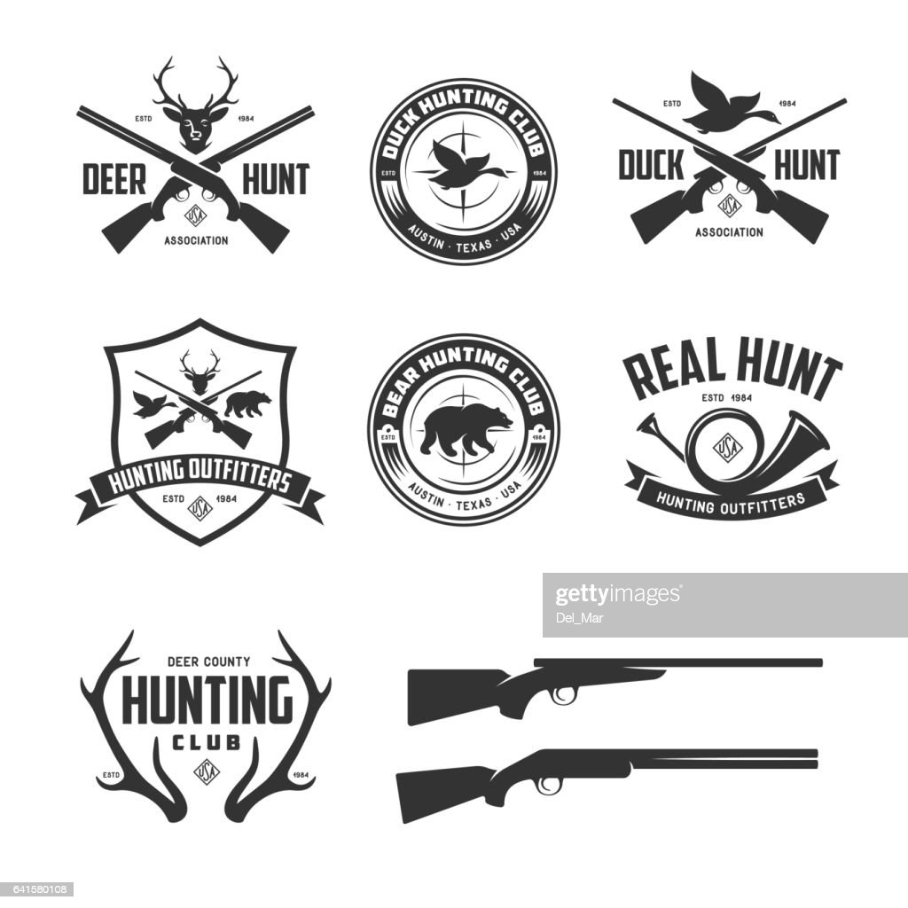 Set of hunting related labels badges emblems. Vector vintage illustration.