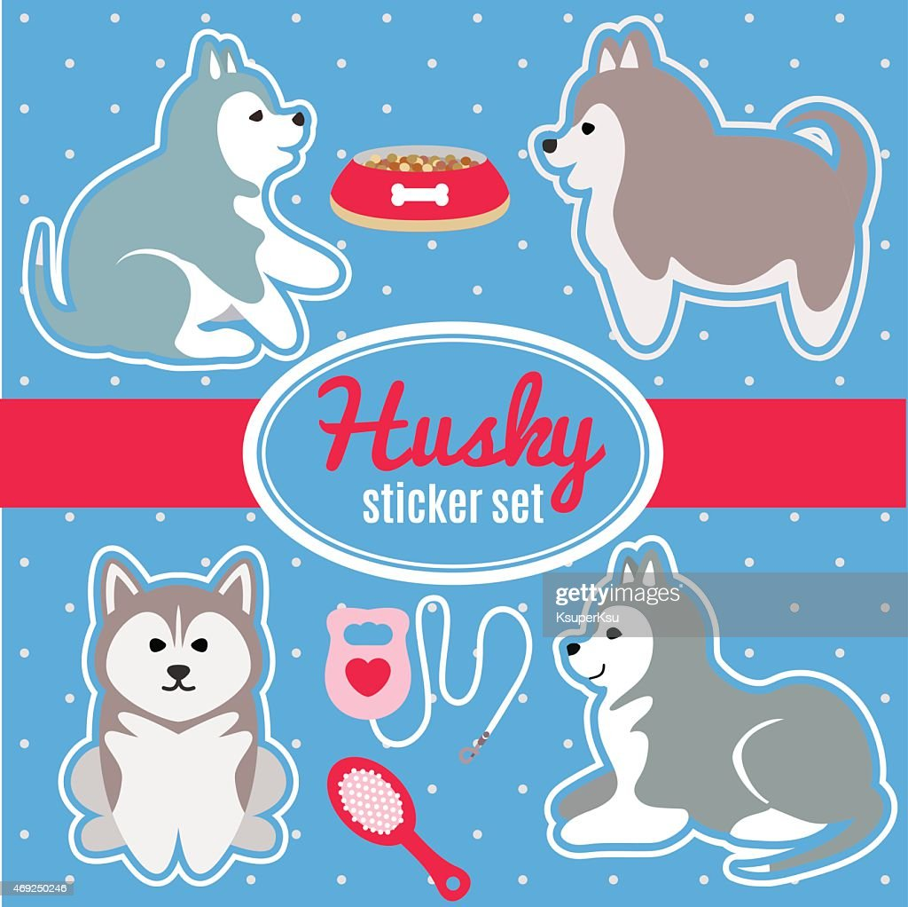 Set of husky breed puppies and dog care accessories stickers