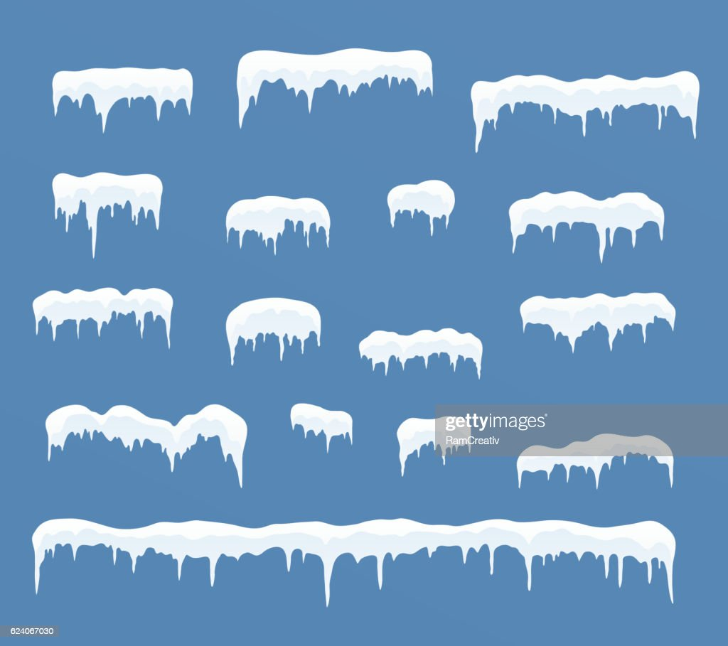 Set of ice caps. Snowdrifts, icicles.