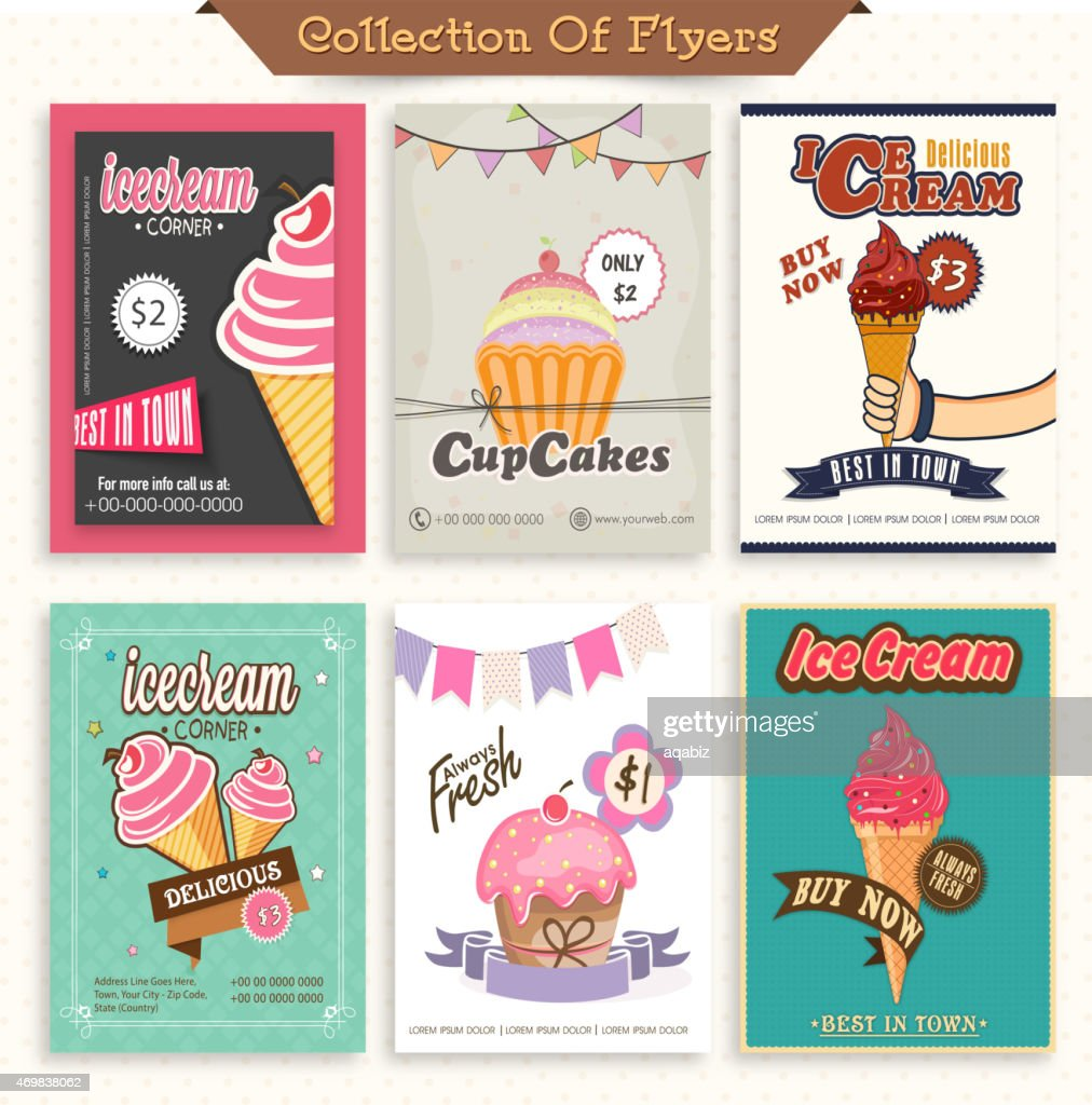 Set of Ice Cream and Cupcake flyers.