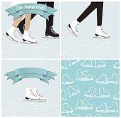 Set of ice skating illustrations