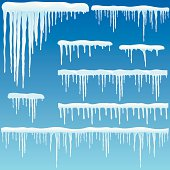 Set of icicles with snow