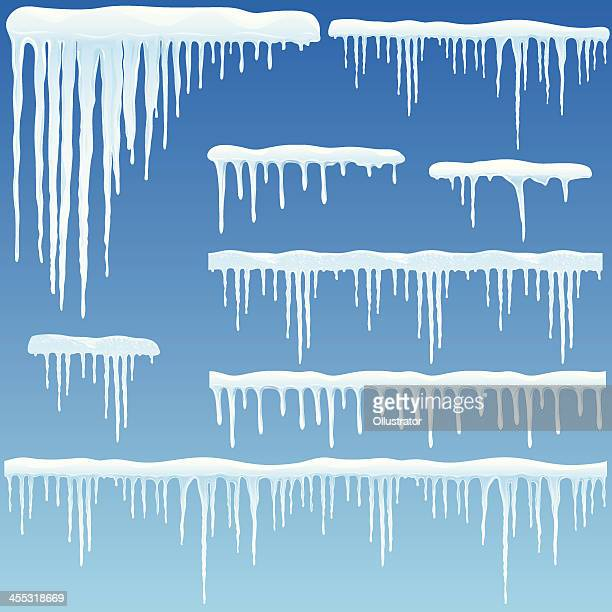 set of icicles with snow - frost stock illustrations, clip art, cartoons, & icons