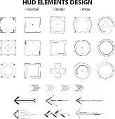 set of icon technology hud elements design isolated