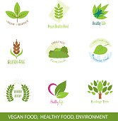 Set of Icons and Design Elements for Vegan Food