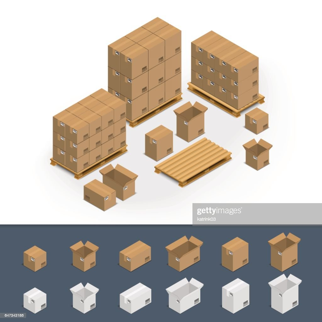 Set of icons cardboard boxes