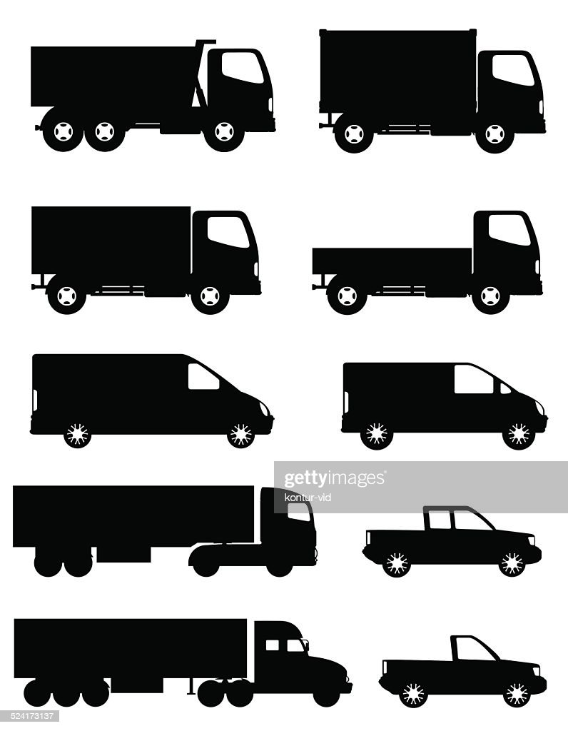 set of icons cars and truck for transportation cargo silhouette