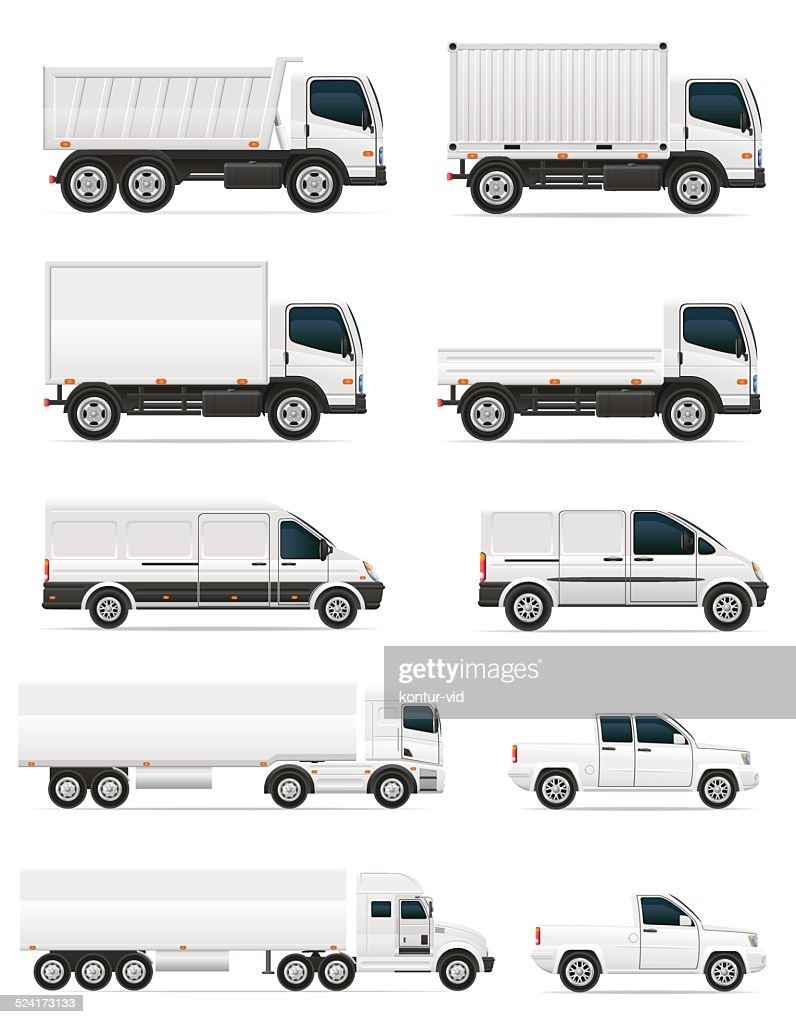 set of icons cars and truck for transportation cargo