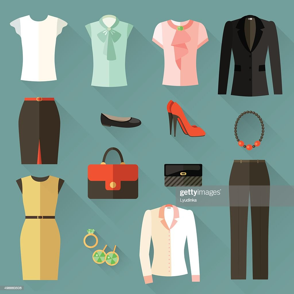Set of icons clothing businesswoman . Vector flat illustration