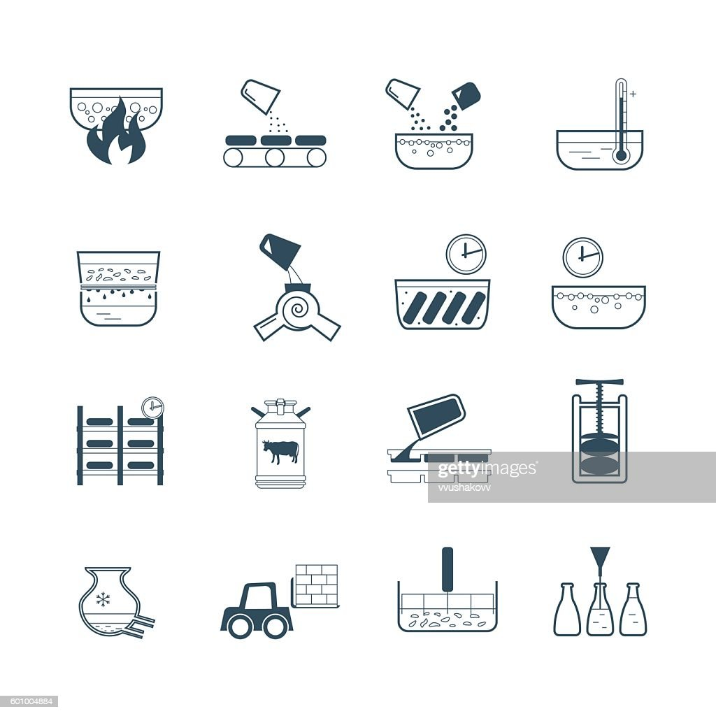 set of icons dairy product production