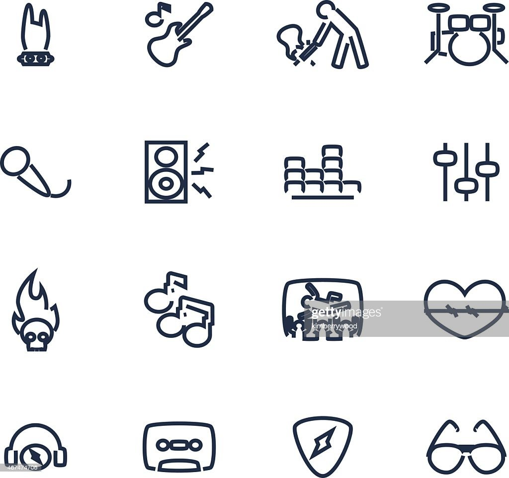Set of icons dealing with music
