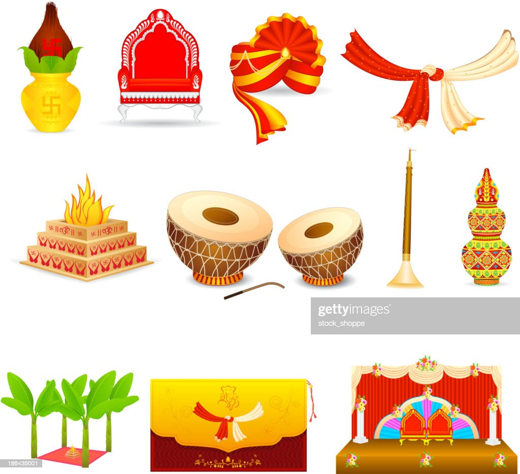 Set of icons depicting an Indian wedding