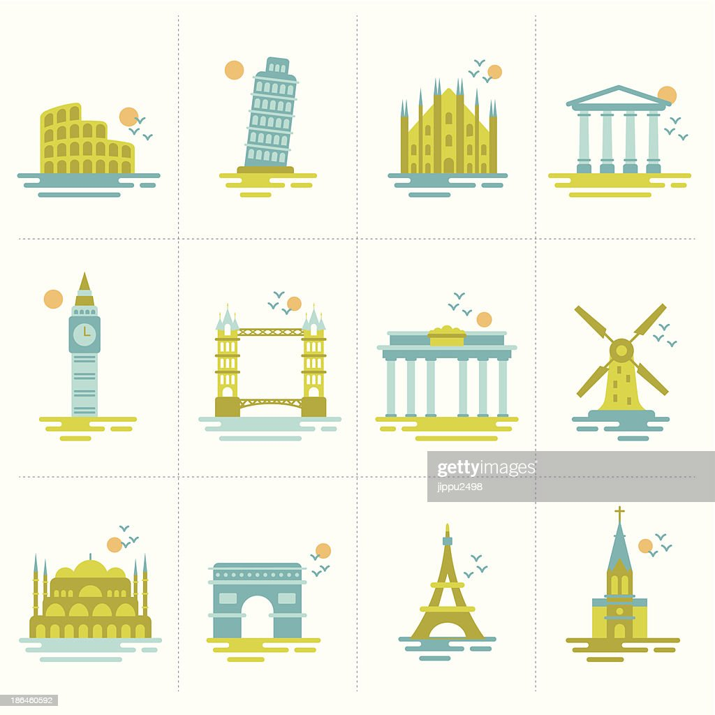 set of icons famous international landmarks.