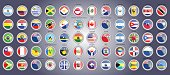 Set of icons. Flags of North, South and Central America.