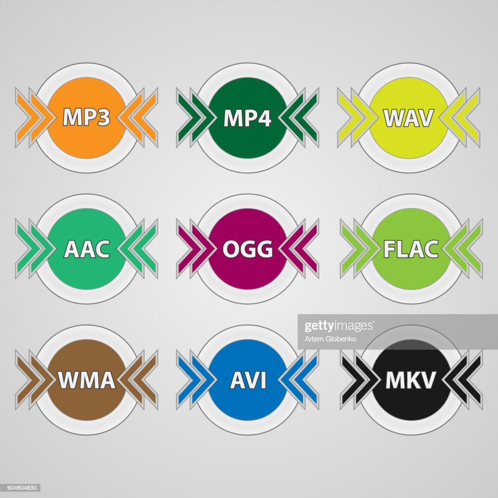 Set of icons for audio and video file formats.