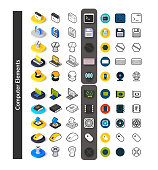 Set of icons in different style - isometric flat and otline, colored and black versions