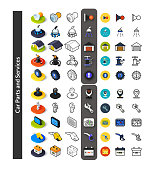 Set of icons in different style, isometric flat and otline