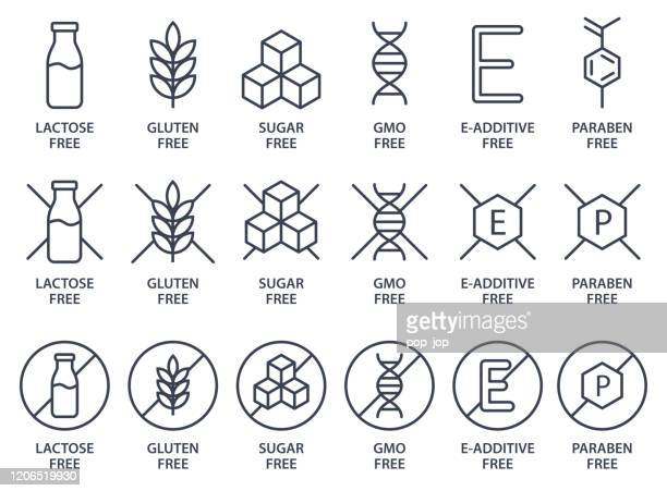 set of icons - lactose free, gluten free, sugar free, gmo free, e-additive free, paraben free. vector illustration. - free of charge stock illustrations