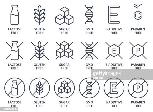 stockillustraties, clipart, cartoons en iconen met set van pictogrammen - lactose vrij, glutenvrij, suikervrij, ggo vrij, e-additief gratis, parabenen vrij. vectorillustratie. - vrijheid