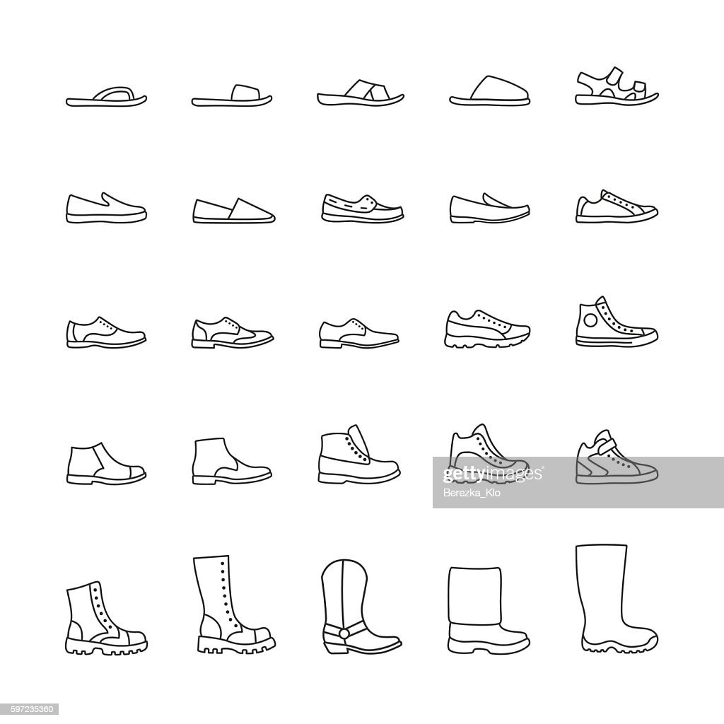Set of icons men's shoes. Vector line icons