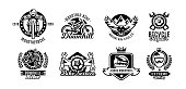 Set of icons, mountain bike. Bicycle, racer, eagle, repair, service, downhill, freeride. Vector illustration