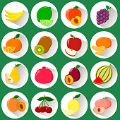 A set of icons of different fruits in a white circle with a shadow on a green background.