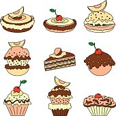 Set of icons of different types of cakes