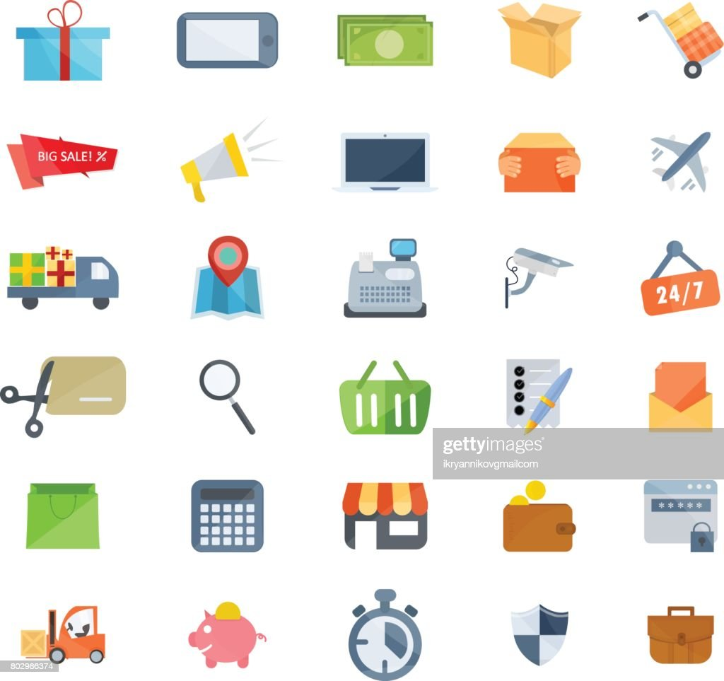 Set of icons of marketing, shopping, e-commerce, technical support, delivery